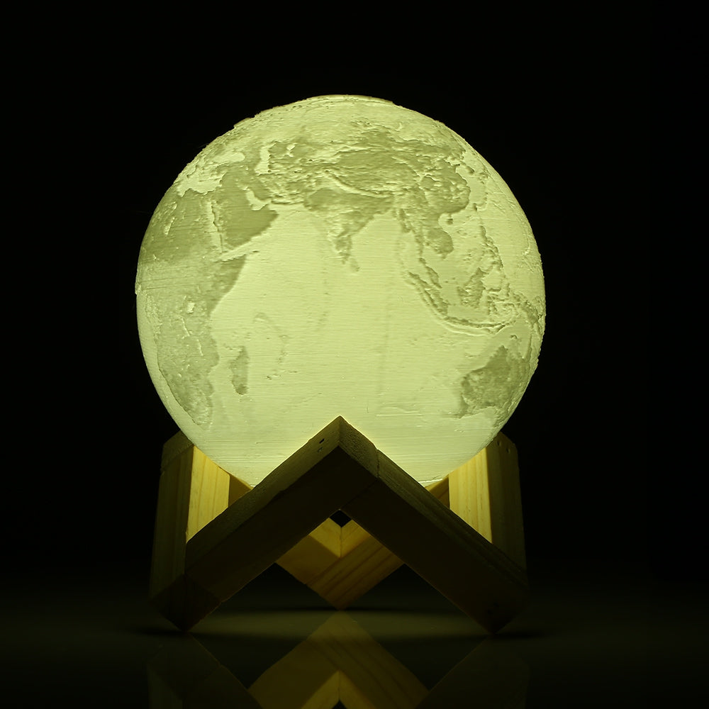 RGB Color Change Rechargeable 3D Print Earth Lamp - JustgreenBox