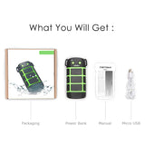 Tritina Waterproof Power bank - LED Light - SOS Signal, 5200mAh - JustgreenBox