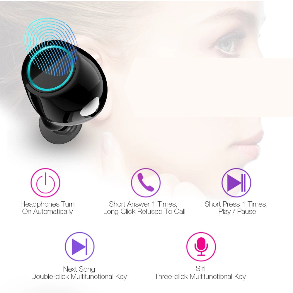 Earbuds Wireless Bluetooth Earphones Stereo Headset