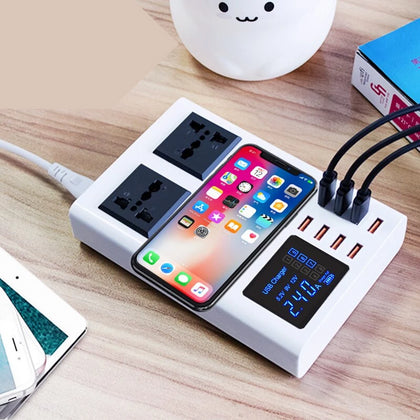 Fast charging station with 8-port QI wireless fast charger - JustgreenBox
