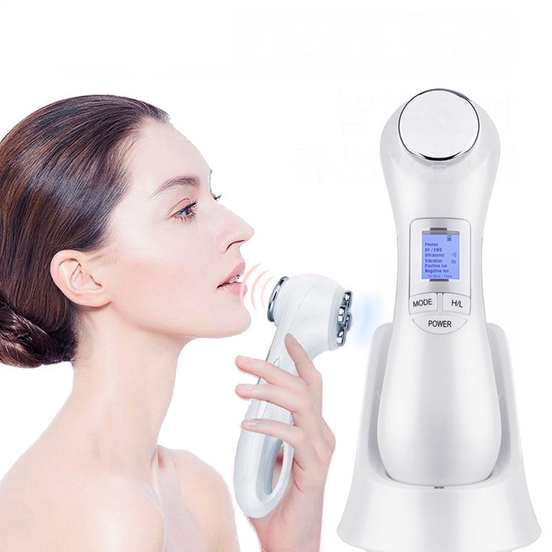Radio Frequency Mesotherapy Microcurrent Face Lifting Massager Machine Beauty 6 In 1 LED Facial Vibration