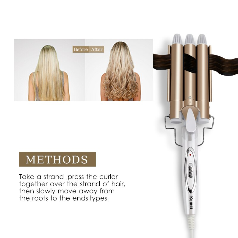 Professional Iron Ceramic Triple Barrel Styler Waver Electric Curling Hair Tools