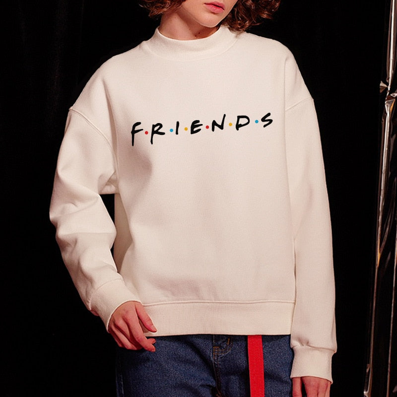 Womens Letters FRIENDS Print Long Sleeve Hoodie Sweatshirt - JustgreenBox