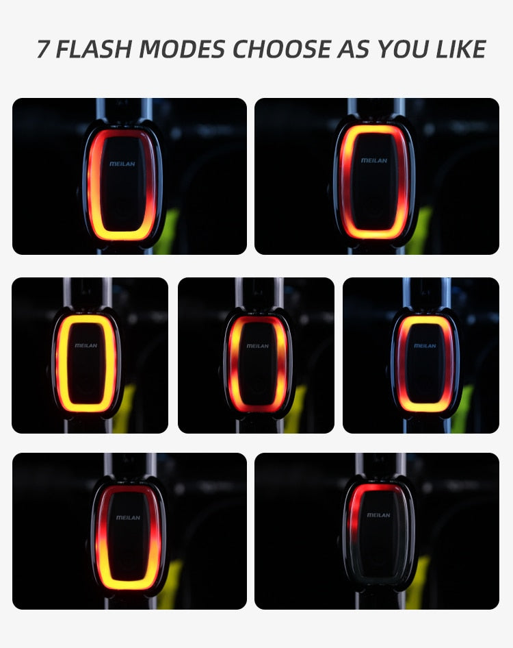 Smart Brake Bicycle Rear Led Taillight USB Rechargeable Flash Lights