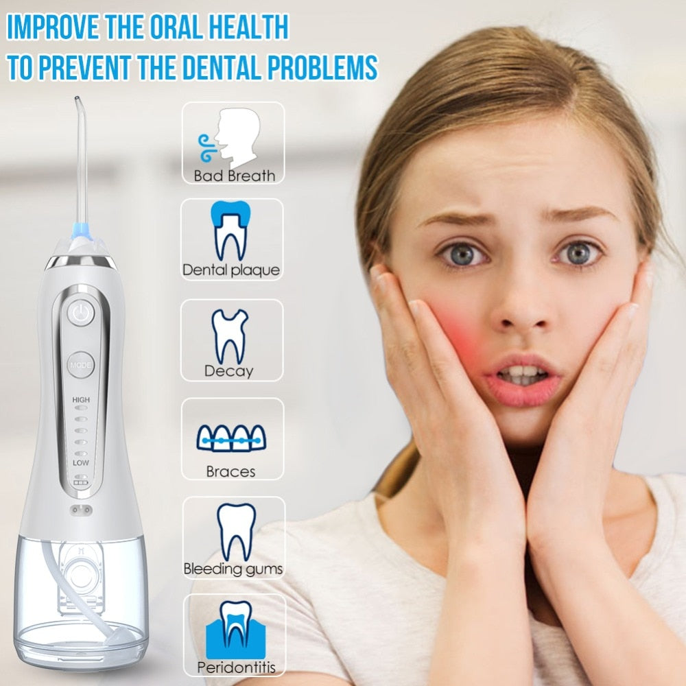 5 Mode Portable Oral Irrigator 300ml Dental Water Flosser Jet USB Rechargeable Floss Teeth Cleaner