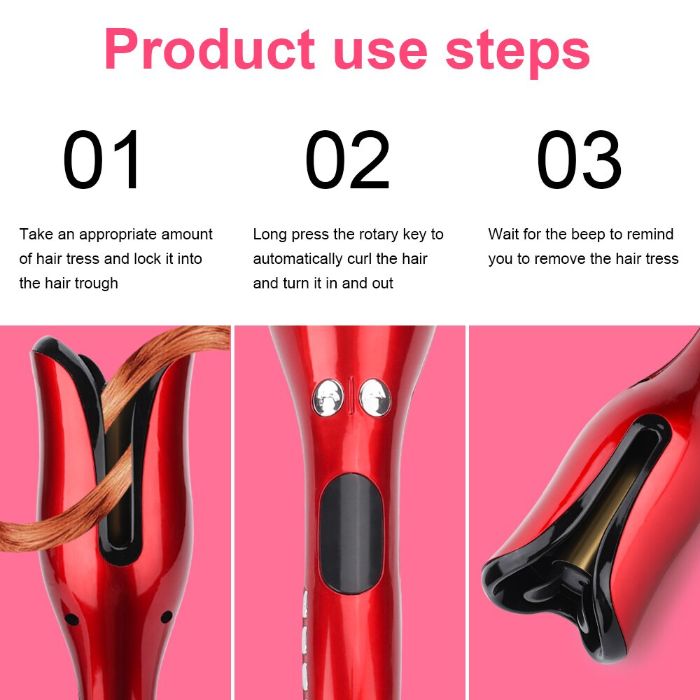 Automatic Iron Wand Waver Rotating Electric Hair Air Spin Curler Styling Tool