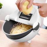 Magic Multifunctional Rotate Vegetable Cutter With Drain Basket Kitchen Veggie Fruit Shredder Grater Slicer (Black with White) - JustgreenBox