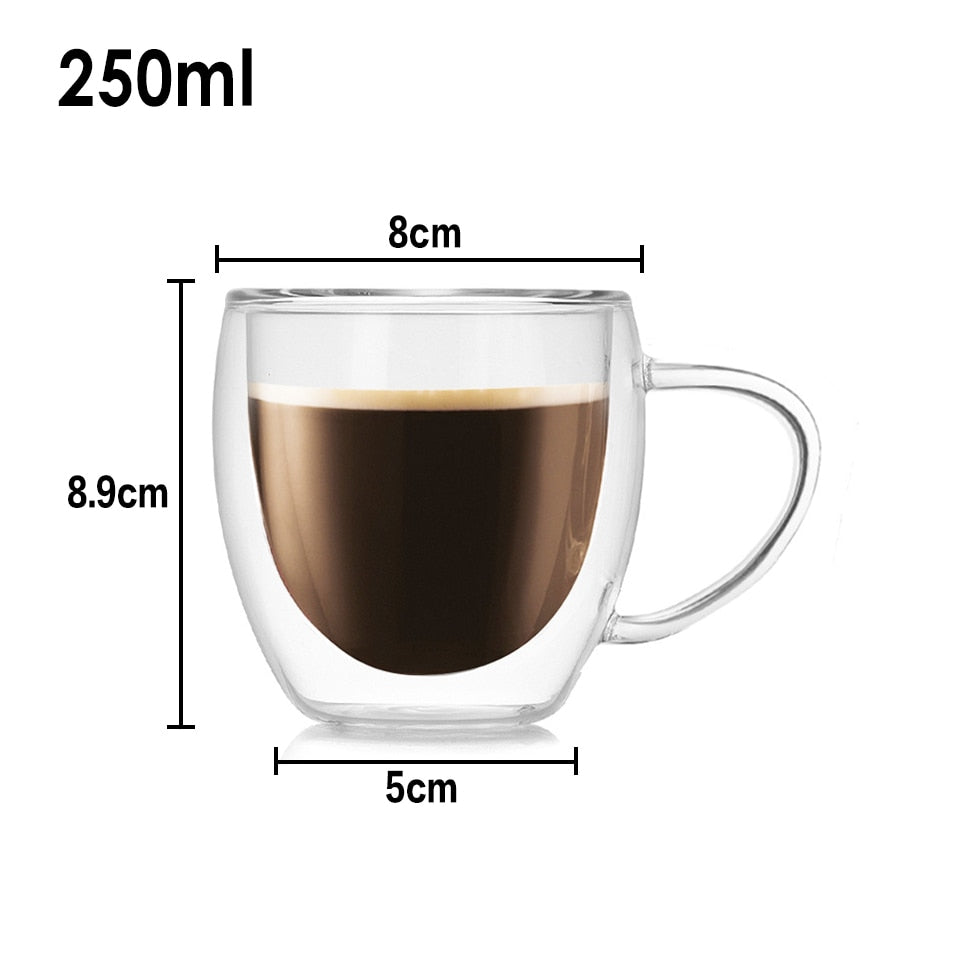 Heat Resistant Travel Double Wall Glass Coffee/Tea Cups And Mugs With The Handle Drinking Shot Glasses - JustgreenBox