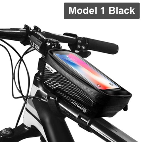 Rainproof Frame Front Top Tube Cycling Phone Case Bag up to 6.5inch TouchScreen