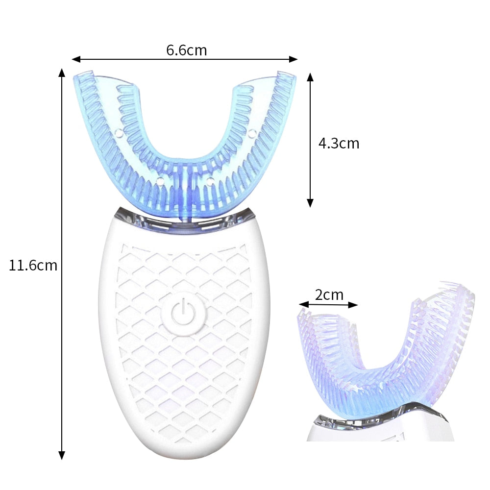 Automatic Blue Light Whitening Silicone Toothbrush 360 Degree USB Rechargeable Teeth Cleaner