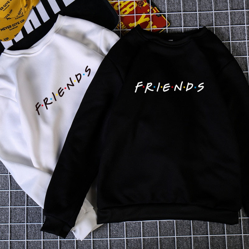 Womens Letters FRIENDS Print Long Sleeve Hoodie Sweatshirt