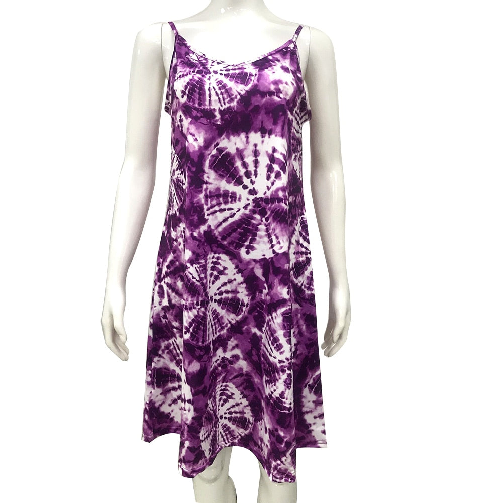 Women Sexy Sleeveless V Neck Cobweb Print Hem Skin-Friendly Dress