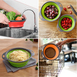 Foldable Silicone Colander Fruit Vegetable Washing Basket Strainer Collapsible Drainer With Handle Kitchen Tools - JustgreenBox