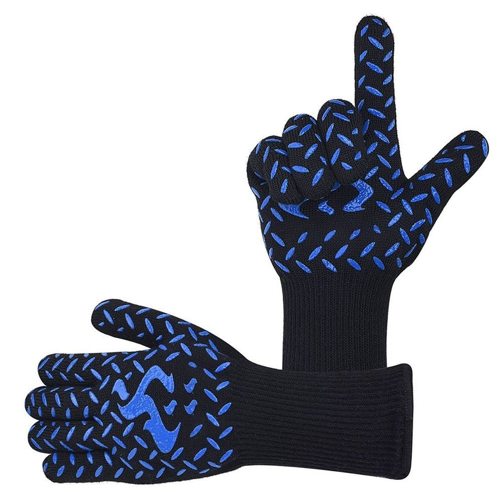 bakewere Oven Mitts Gloves BBQ Silicon gloves High Temperature Anti-scalding 500/800 Degree Insulation Barbecue Microwave - JustgreenBox
