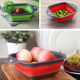 Foldable Fruit Vegetable Washing Basket Strainer Portable Silicone Colander Collapsible Drainer With Handle Kitchen Tools - JustgreenBox
