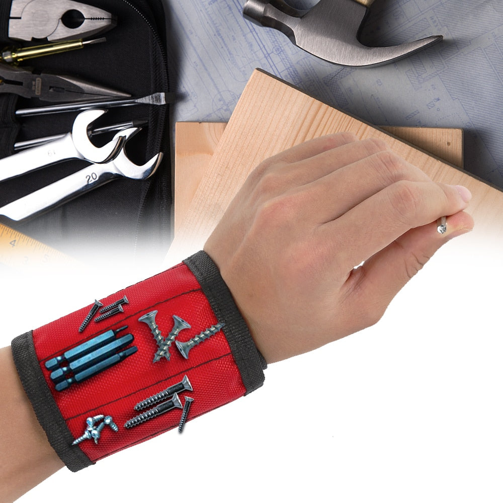 1pcs Magnetic Wristband Hand Wraps Tool Bag Adjustable Electrician Screws Nails Drill Holder Belt Bracelet For Home Repair - JustgreenBox