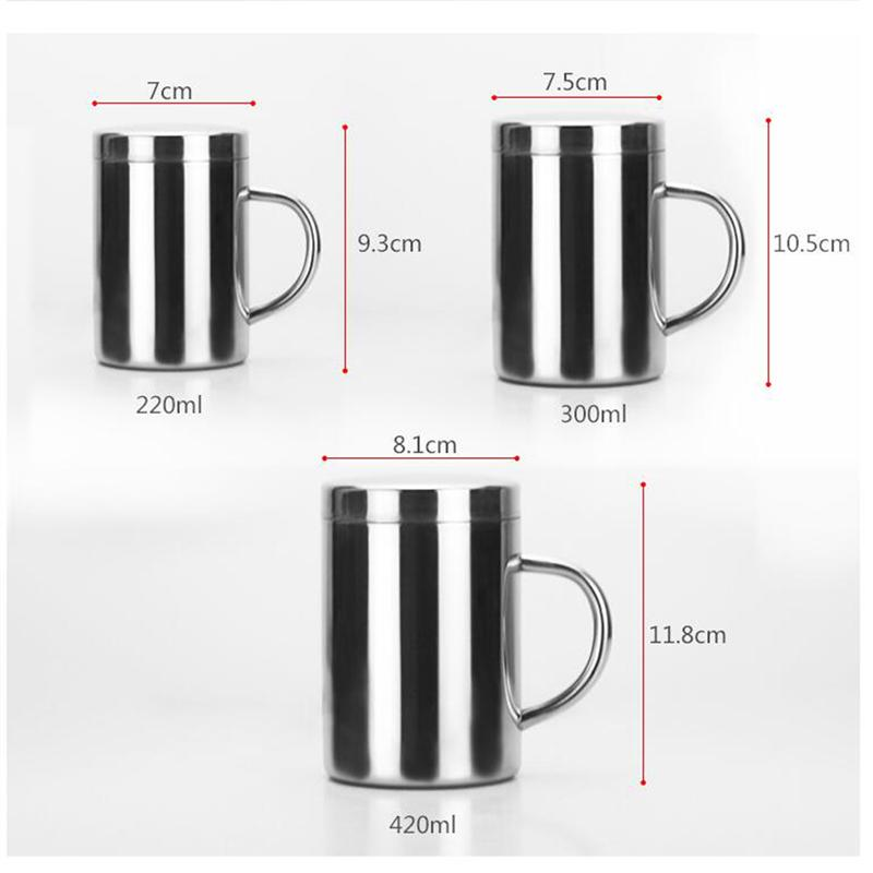Double Insulation Coffee Mug 304 Stainless Steel Durable With Lid For Drinking Milk Office Water - JustgreenBox