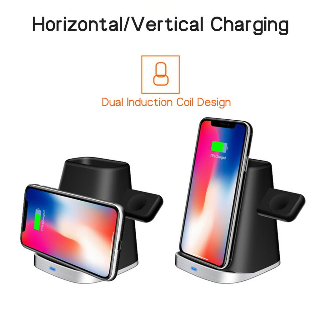 3 IN 1 Qi Wireless Fast Charging Dock Station For Iphone XR XS X 8 For Samsung S10E Apple Watch 2/3/4 - JustgreenBox