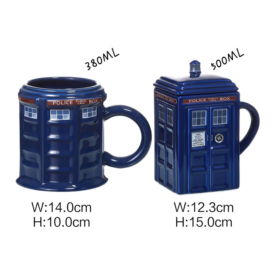Doctor Who Tardis Police Box Ceramic Mug Cup With Lid Cover For Tea Coffee Funny Creative  Presents Kids Men - JustgreenBox