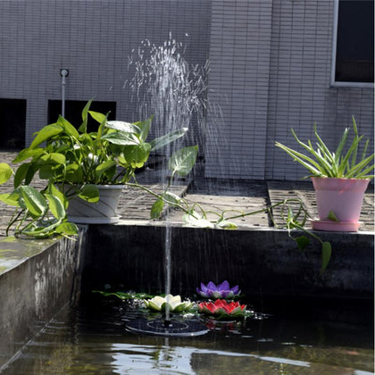 Mini Solar Fountain Water Garden Pool Pond Outdoor Panel Floating Decoration (Black) - JustgreenBox