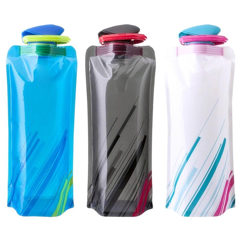 700mL Reusable Sports Travel Portable Collapsible Folding Drink Water Bottle Kettle Outdoor - JustgreenBox
