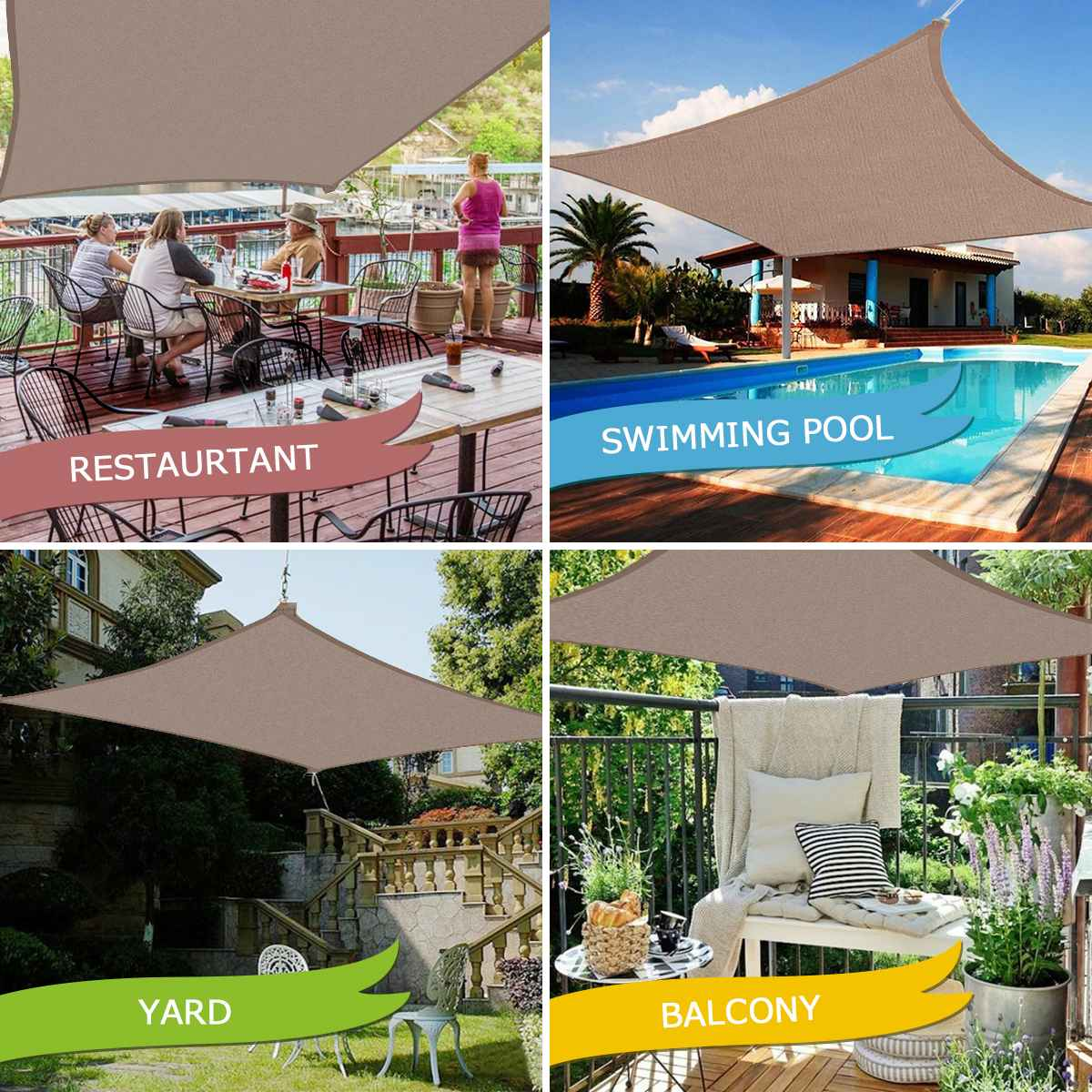 300D Waterproof Polyester Rectangle Awning Sun shading net Shade Sail Outdoor Shelter Khaki