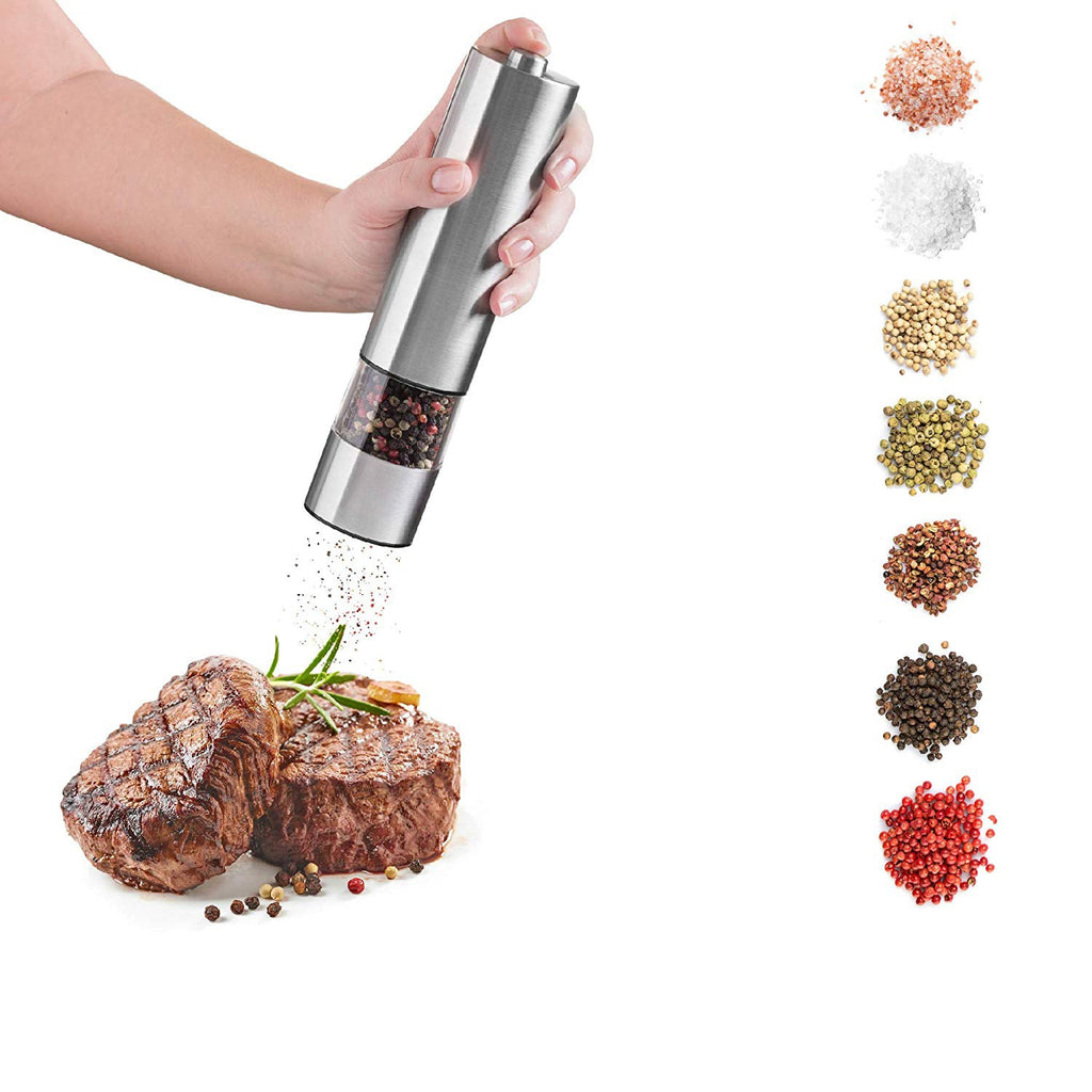 Electric Salt And Pepper Grinding Unit (2 Packs) - Electronically Adjustable Vibrator Ceramic Grinder Automatic One-handed - JustgreenBox