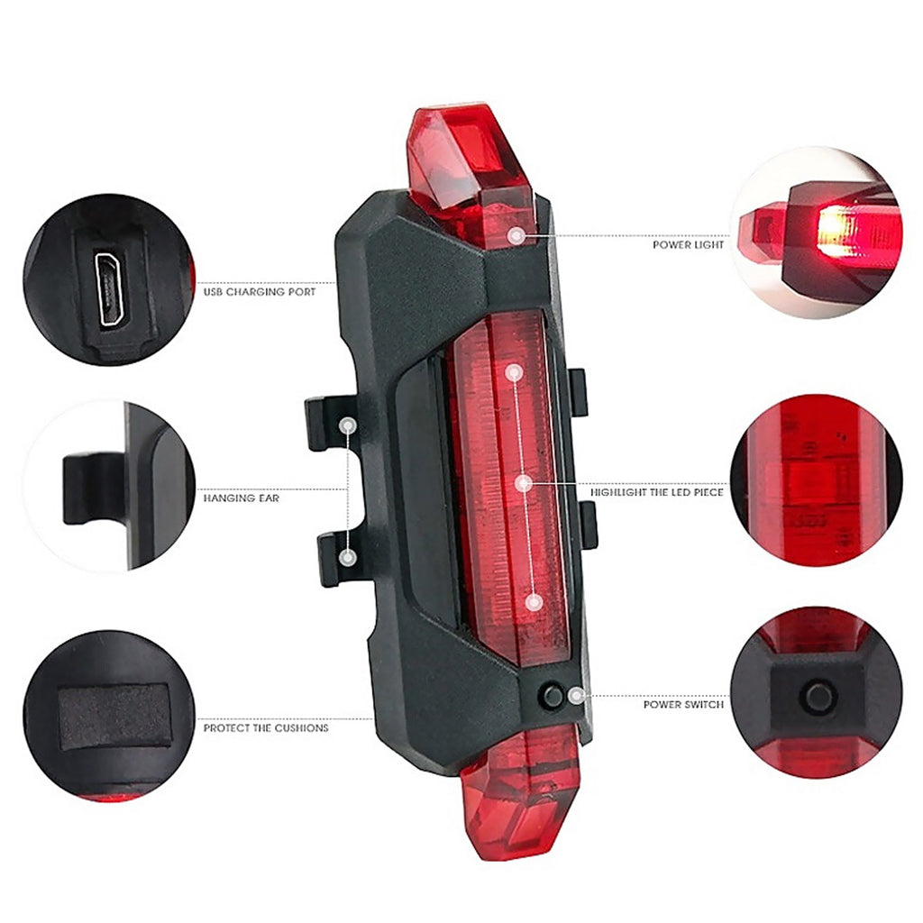 Portable USB Rechargeable Bike Tail Rear Safety Warning Light - JustgreenBox