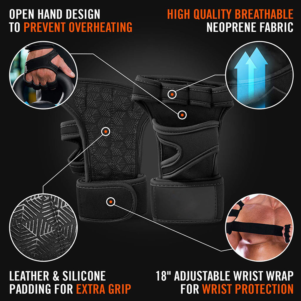 Gym Fitness Gloves Hand Palm Protector With Wrist Wrap Support Crossfit Workout Bodybuilding Power Weight Lifting - JustgreenBox