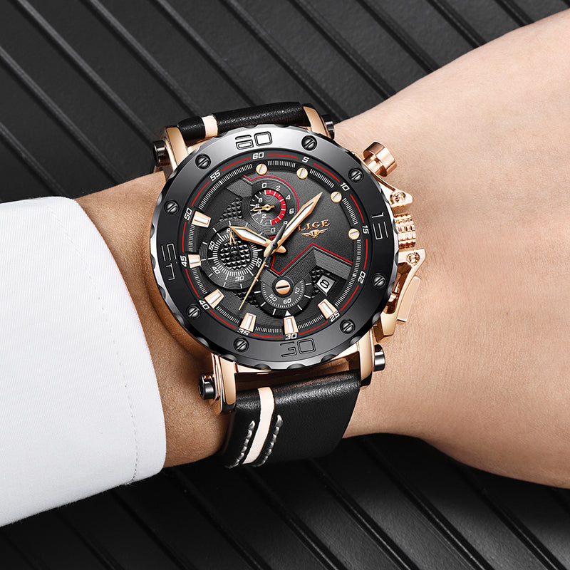 Luxury Big Dial Military Leather Waterproof Quartz Watch For Men