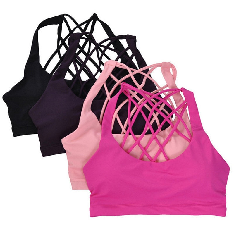 Sports Bra Push Up Active Wear For Women Gym Pink Brassiere Criss Cross Crop Top Female Yoga - JustgreenBox