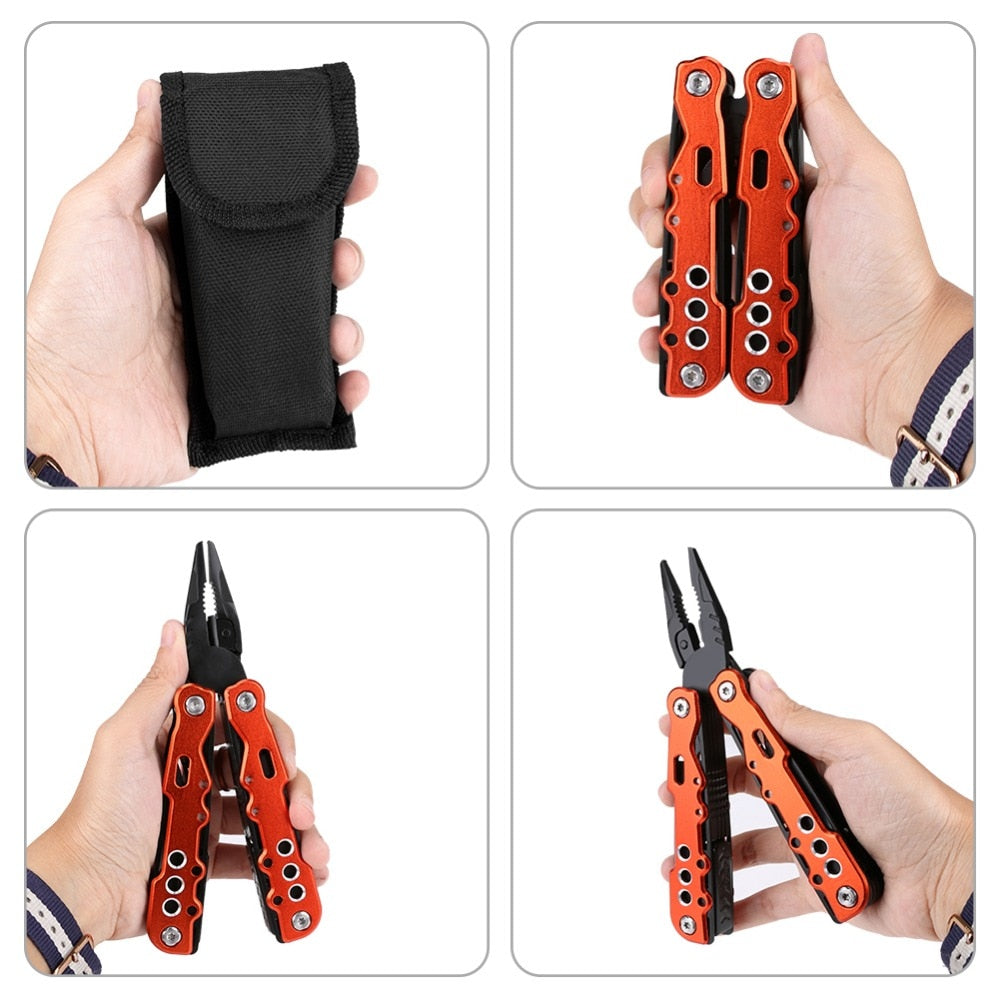 11 In 1 Multi Tool Folding Combination Pliers Knife Metal Screwdriver Kit Wire Stripper Crimping Saw Blade Cable Cutter (Red) - JustgreenBox