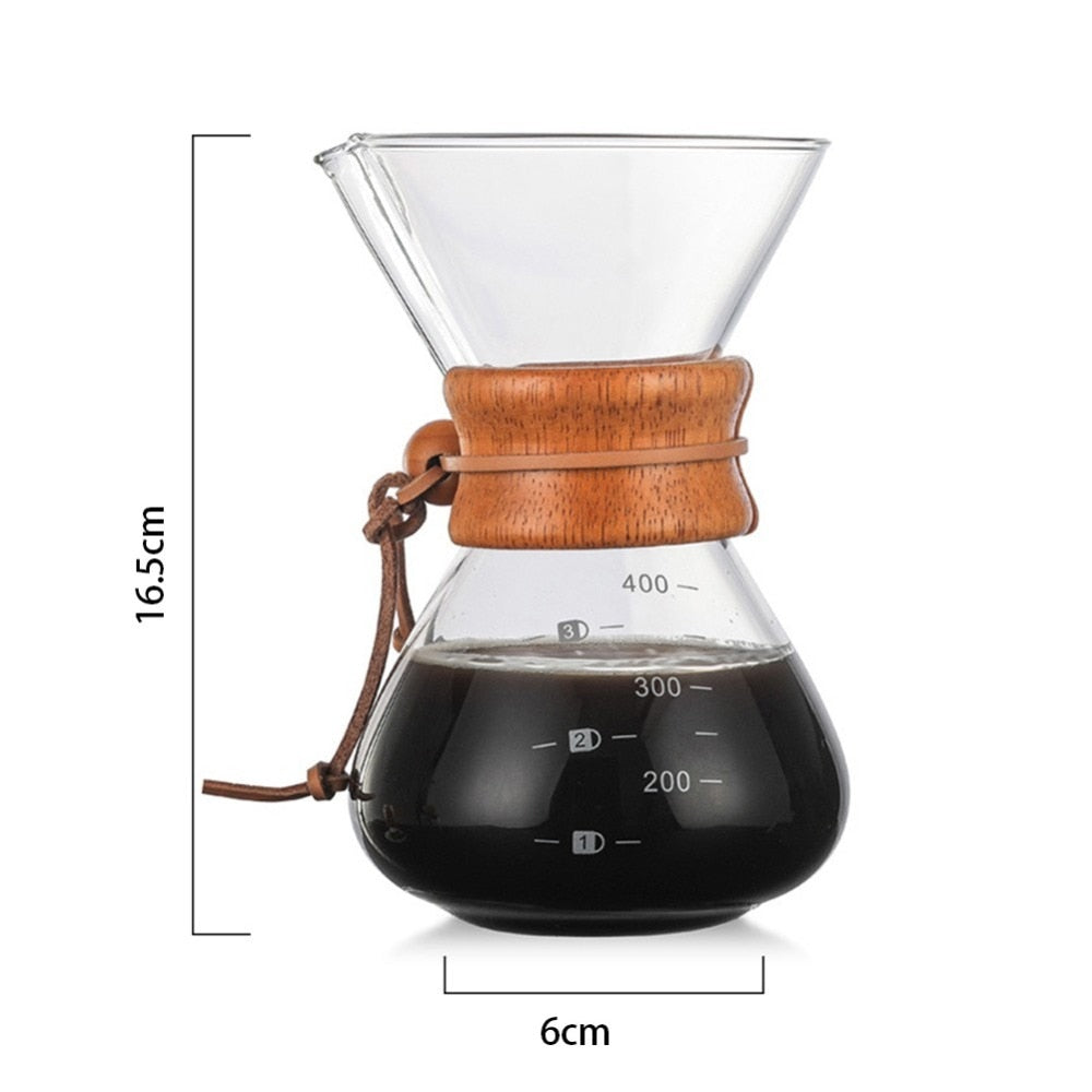 High-Temperature Resistant Glass Coffee Maker Pot Espresso Machine With Stainless Steel Filter Pot - JustgreenBox