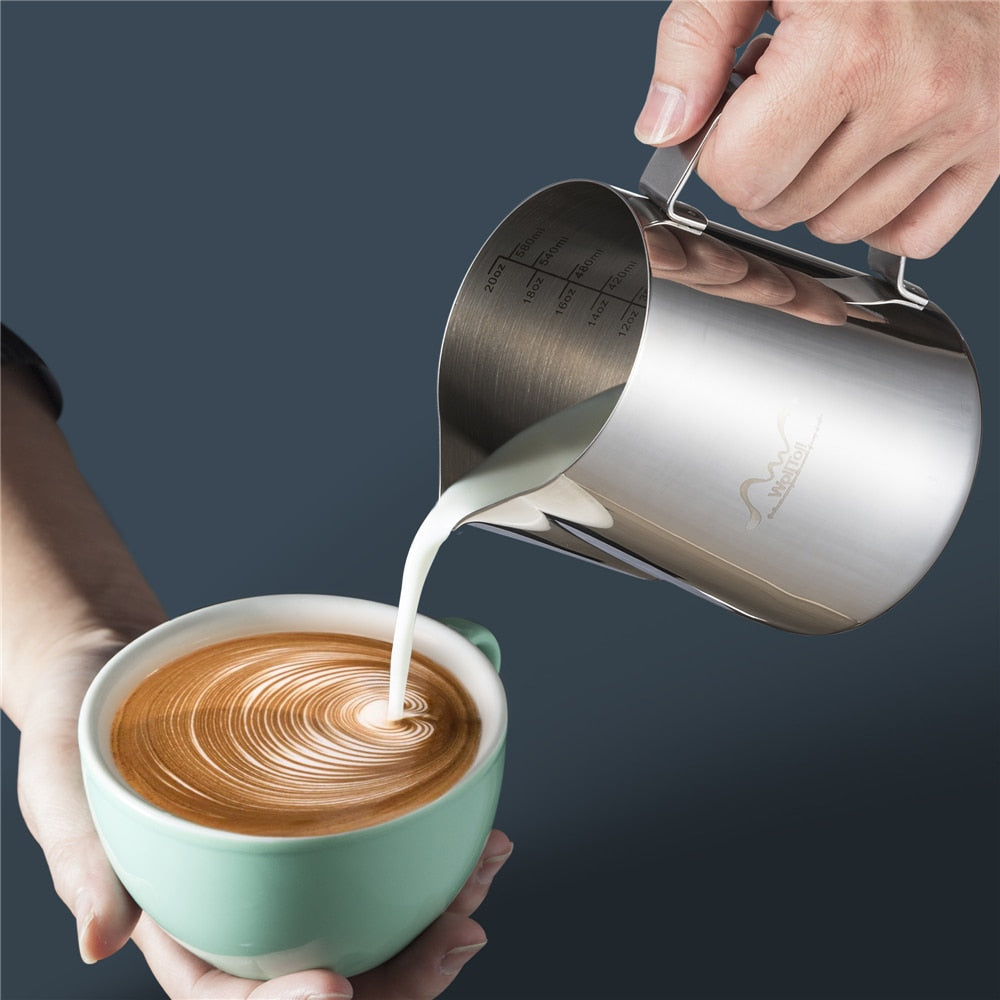 Stainless Steel Milk Frothing Pitcher Espresso Coffee Barista Craft Latte Cappuccino Cream Cup Jug - JustgreenBox