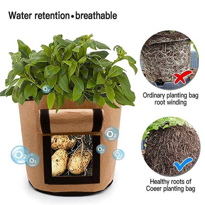 1Pcs Woven Fabric Bags Potato Cultivation Planting Garden Pots Planters Vegetable Grow Bag Farm Home