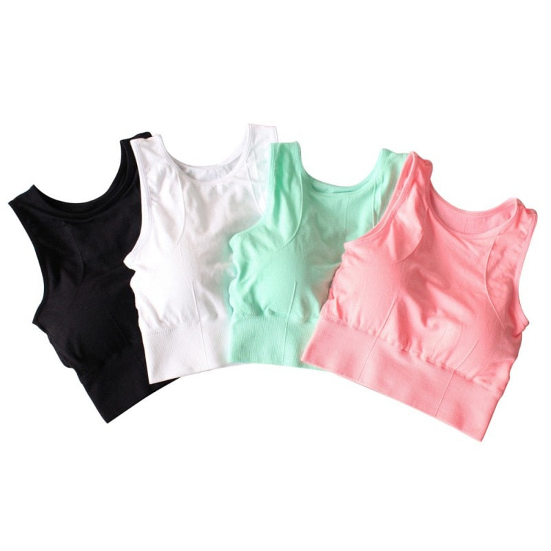 Women Breathable Mesh Shockproof Padded Athletic Gym Running Seamless Fitness Yoga Vest Sport Bra Tops - JustgreenBox