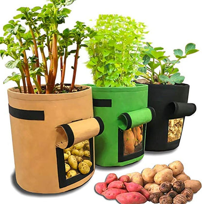 1Pcs Woven Fabric Bags Potato Cultivation Planting Garden Pots Planters Vegetable Grow Bag Farm Home - JustgreenBox