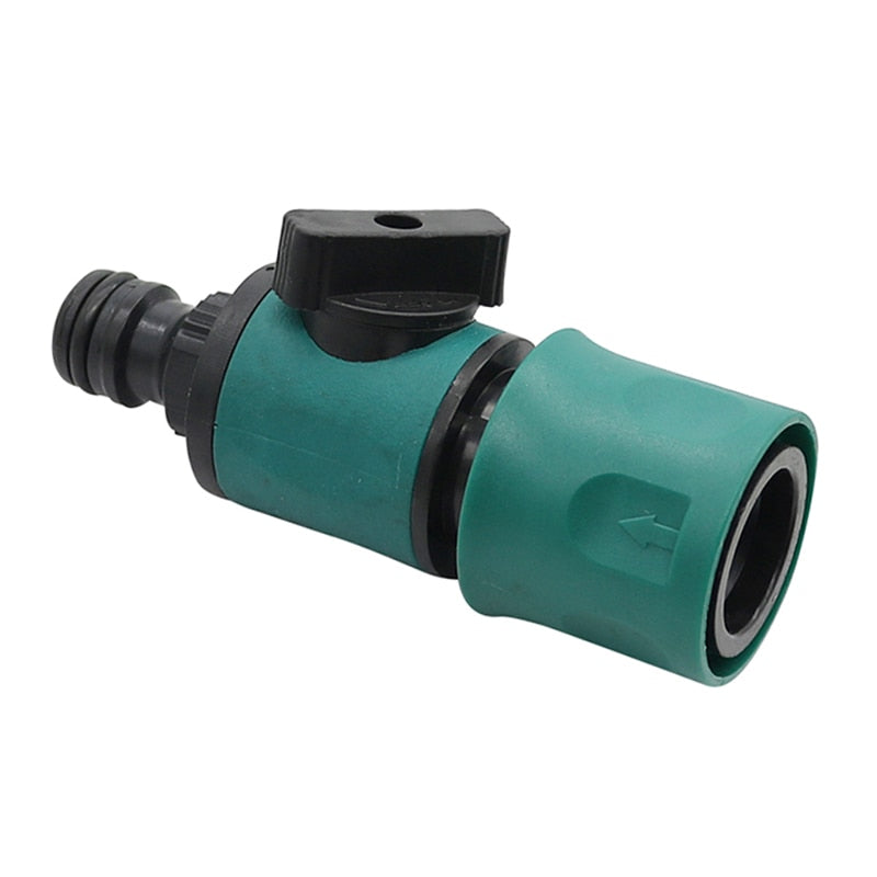 Plastic Valve with Quick Connector Agriculture Garden Watering Prolong Hose Irrigation Pipe Fittings Adapter Switch 1 Pc (Green) - JustgreenBox
