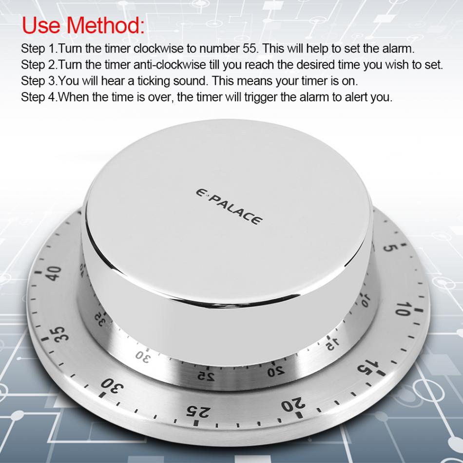 Stainless Steel Kitchen Timer With Magnetic Base Manual Mechanical Cooking Countdown Tools Gadgets (Silver) - JustgreenBox