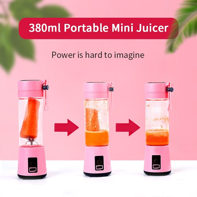 380ml Portable Juicer Electric USB Rechargeable Smoothie Blender Machine Mixer Mini Juice Cup Maker fast Blenders food processor - JustgreenBox