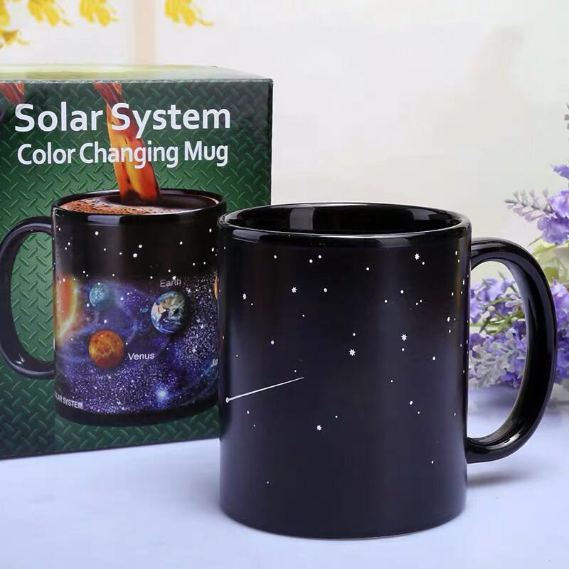 Creative Ceramic Mug Color Changing Heat Revealing Coffee Friends Student Breakfast Cup Star Solar System - JustgreenBox