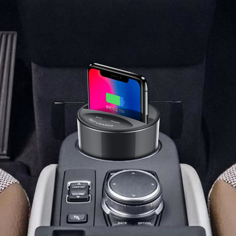 Fast QI Wireless Car Charger For Samsung Galaxy S9 S8 S7 S6 Edge iphone 8 10 X fast wireless charger cup Quick holder - JustgreenBox