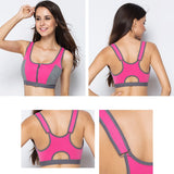 Women Zipper Push Up Bras Shockproof  Underwear Running Vest Gym Workout Tops Yoga Sport - JustgreenBox
