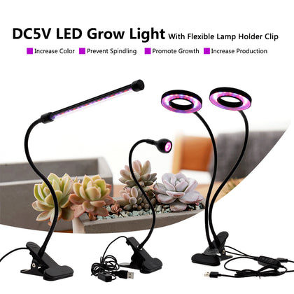 Full Spectrum LED Grow Light DC5V 3W 9W 18W 27W Clip-on USB Powered Phyto Lamp Desktop Plant Growth Lighting for Indoor Flowers - JustgreenBox