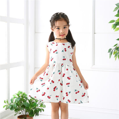 Girl Dress Kids Sleeveless Plaid Dress Soft Cotton Summer Princess Dresses - JustgreenBox
