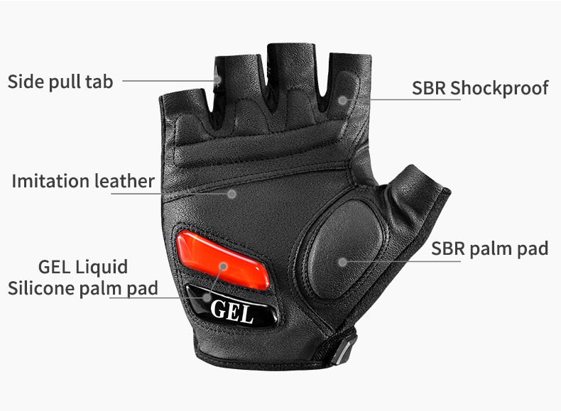Cycling Gloves MTB Road Mountain Bike Half Finger Men Summer Bicycle Gym Fitness Non Slip Sports - JustgreenBox