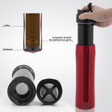 350ML French Press Stianless Steel Portable Coffee Maker Tarvel With Plunger Filter Double Wall Vacuum Mug Pot - JustgreenBox