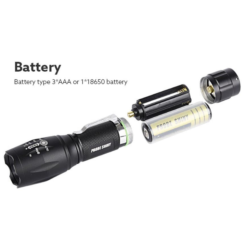 T6 LED Super Bright XM-L Adjustable Focus Flashlight Torch Zoomable 6000 Lumens Aluminum Alloy Body - JustgreenBox