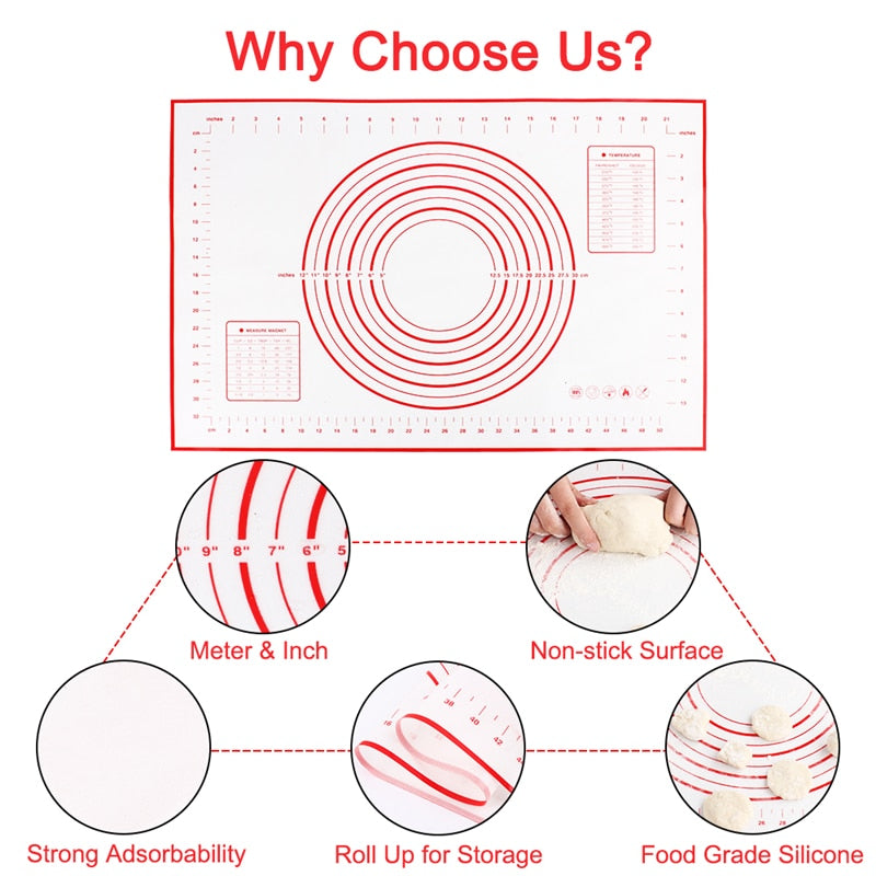 Silicone Baking Mats Sheet Pizza Dough Non-Stick Maker Holder Pastry Kitchen Gadgets Cooking Tools Utensils Bakeware Accessories - JustgreenBox