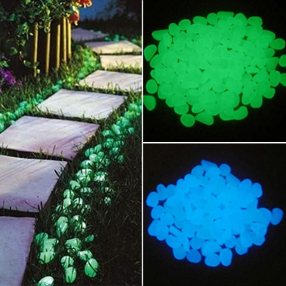 50Pcs Glow in the Dark Garden Pebbles Stones Rocks for Walkways Path Patio Lawn Yard Decor Luminous stones - JustgreenBox